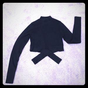 Zara croptop ribbed long sl cut out criss cross